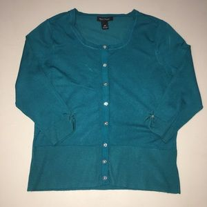 WHBM Snap Front Cardigan 3/4 Sleeve Teal Medium